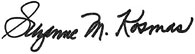 Congresswoman Kosmas' Signature